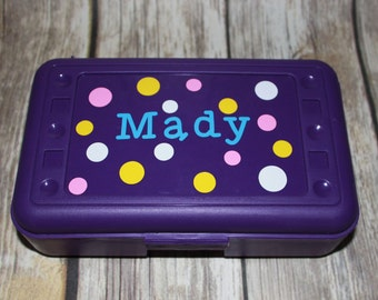 Personalized Kids Pencil Box, Kids Polka Dot Pencil Box, Craft Box, Pencil Case, Back to School