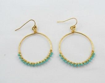 Turquoise Blue Bead Half Hoop Earrings