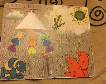 Unusual collage geometric children's book illustrations 5 by 6 inches