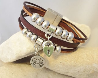 Leather multi-stranded bracelet