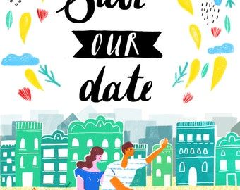 Customisable 'Save the Date' invitation illustration