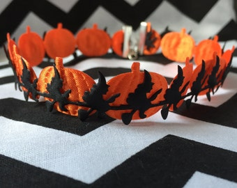 Pumpkin and Witch Choker Necklace