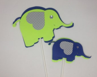 Elephant centerpieces stick/ Elephant theme/ Elephant shapes/ Navy blue and Lime green elephant/ Stick centerpieces