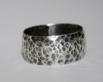 Sterling Silver Wide Band Hammered Ring