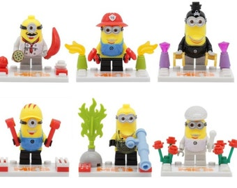 Lot of 6 figures Lego Minion (Despicable) customized