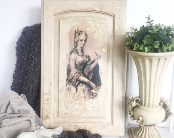 Shabby Chic Wall Decor French Wall Art Mary Antoinette Mixed Media Victorian Antique Style Wall Decor
