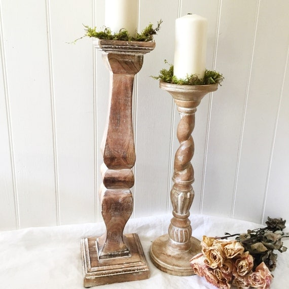 Rustic wood candle holders wedding table centerpiece mantle
