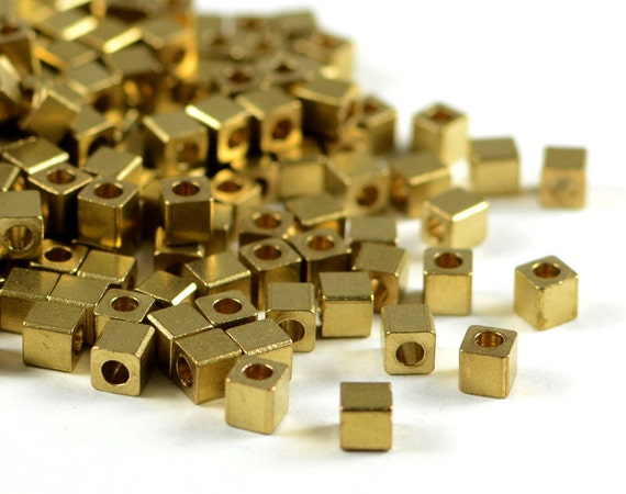 Brass Cube 3mm, square spacer beads, smooth edge, raw brass beads, light weight  - 50 pcs/ pkg