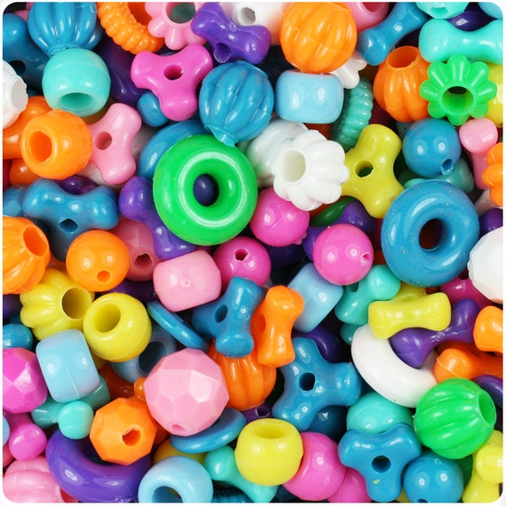 Bright Mix Opaque Craft Bead Mix 4oz - TriBeads, Melons, Faceted Rounds, Smooth Rounds, Barrels, Rings, Florals - Made in the USA