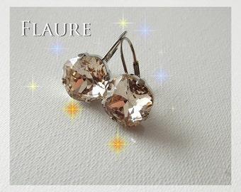 crystal earrings Swarovski smoked color