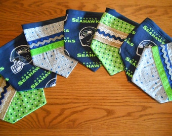 Fabric Pennant/Bunting Banner with Seattle Seahawks Print