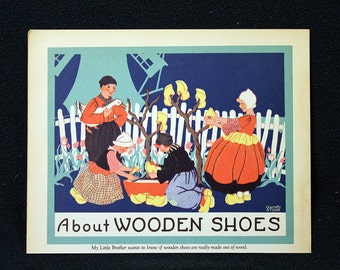 Charlotte Stone Color Illustration Lithograph entitled About Wooden Shoes * Delightful 1935 Childrens Book Page Print Beautiful Full Color