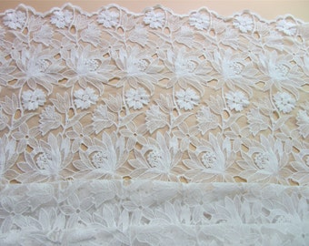 Antique White Lace fabric ,Floral Lace for Girls, Women, Clothings / DRESS Lace supply ,solubility  embroidery lace fabric