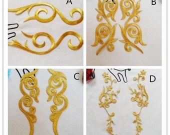 Gold applique  ,embroidery patch --1pair(2pcs)