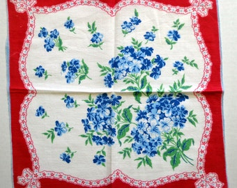 Vintage Hankie, Bouquets of Blue Forget Me Not Flowers, Cotton Handkerchief, Hanky  FS