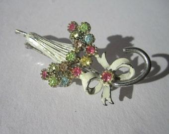 1950s enamel and rhinestone umbrella brooch