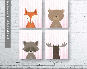 GIRLS WOODLAND Animals Wall Art Print-Set of Four (4) - Digital Download. Woodland Creatures Wall Art Printable. Forest Friends Prints. Pink