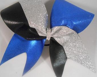 Cheer Bow Royal Blue Mystique / Silver Glitter / Black Mystique by BlingItOnCheerBowz
