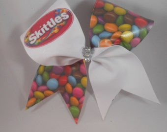 Cheer Bow Skittles SUBLIMATED bow w/rhinestone  center