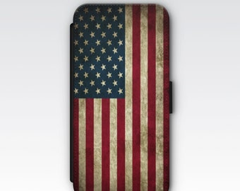 Wallet Case for iPhone 8 Plus, iPhone 8, iPhone 7 Plus, iPhone 7, iPhone 6, iPhone 6s, iPhone 5/5s -  Vintage Stars & Stripes USA Flag Case
