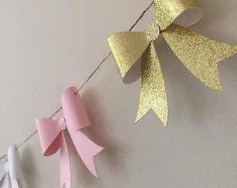 Bow banner, Ombré Pink Bow Garland, paper bow banner, paper bow garland, photoshoot prop banner