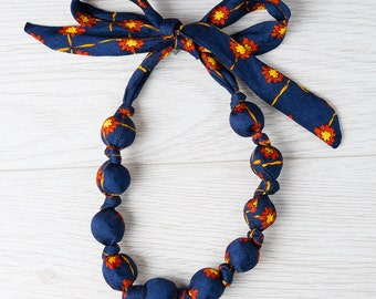 Silk fabric beaded necklace (5)