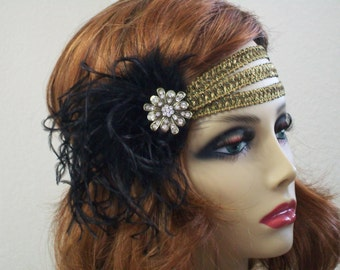 1920s headpiece, Flapper headband, Great Gatsby headband, 1920s headband, 1920s hair accessory, Feather headband, Vintage inspired