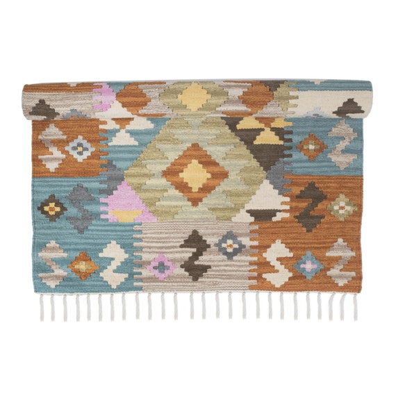 Pink And Blue Kilim Floor Runner
