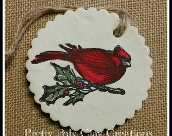 Clay Gift Tag -  Red Cardinal Bird Perched on Holly