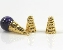 4 Pieces 1/2 Inch Tall Hammertone Bead Cone By TierraCast Bright Gold Plated Lead Free Pewter Beads Cap Cone ~ 4 Pieces