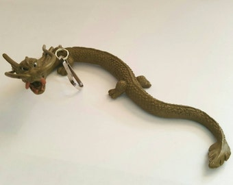 Dragon keychain, zipper pull, lanyard buddy, backpack buddy, diaper bag buddy, vintage toy, unique, one of a kind