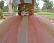 Special Occasion Girls Dress, Pink Gold Toddler Dress, Pink Gold Flower Girl Dress,Baby Sparkle Dress,Gold Pink Mint Infant Dress