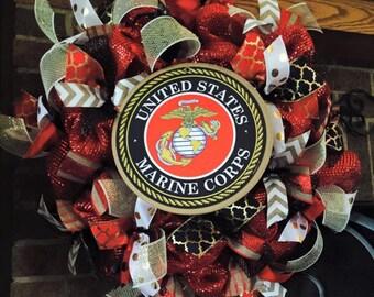 USMC Deco mesh wreath