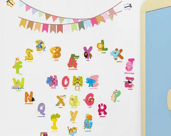 Animal Alphabet Wall Decals for kids room - AW1312