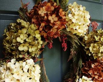 Hydrangea & Berry Wreath | Wreath for Winter | Fall Wreaths | Wreath | Winter Decorating Ideas