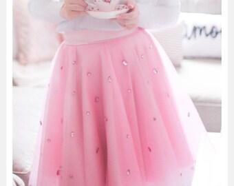 Barbie pink embellished Tulle skirt, Tulle skirt, Rhinestones Tulle Skirt, Barbie Skirt, Gown, Rhinestone Skirt, BlackTulle Skirt, Tutu