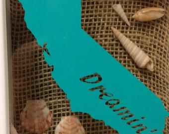 California Dreamin' Shadowbox with seashells & Burlap Free Shipping