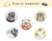 Flowers Pugs Magnets or Pins - Pug Magnets, Cute Pinback Buttons, Pug Gift, Dog Magnets, Spring Flowers Pin Set, Set of Magnets by Inkpug