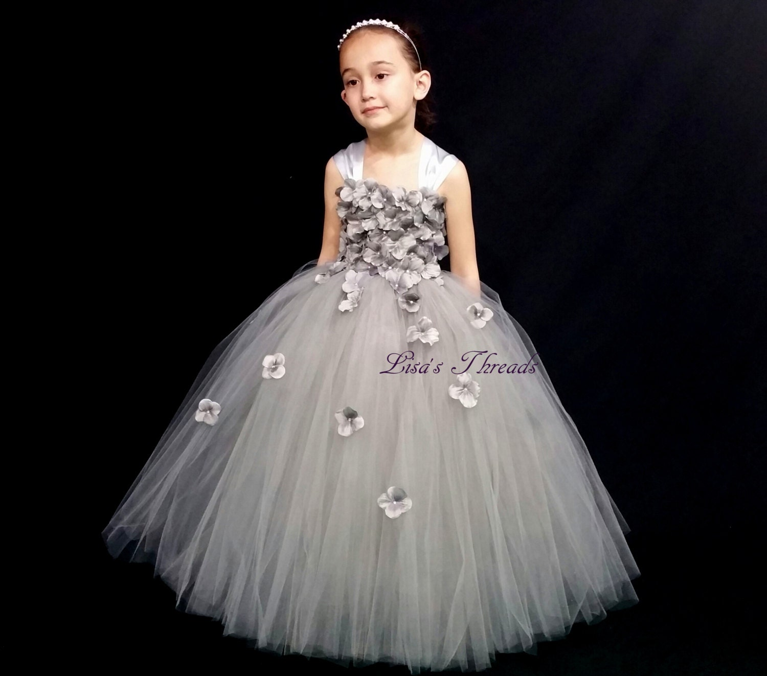 Silver gray flower girl dress Silver tulle dress by