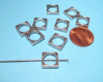 10pcs Antique Silver Square Bead Frames 10mm