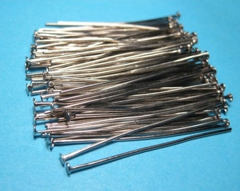 100pcs Silver Tone Head Pins 40mm 21ga (No.480)