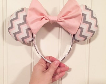 Pink, Gray and White Chevron Mouse Ears