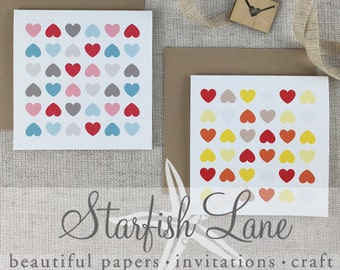 Hearts Card Pack/ 6 cards 99mmx99mm when folded & 6 Envelopes