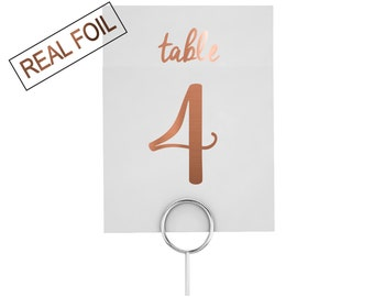 FOIL TABLE NUMBERS, wedding signs, table 3, reception event, wedding decor, foiled table numbers, gold wedding, copper wedding, silver signs