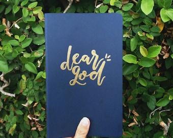 Embossed Gold Custom Lettering on Moleskine Lined Journal | Prayer Journal/Notebook |  Dear God