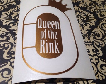 Queen of the Rink White Roller Derby Decal