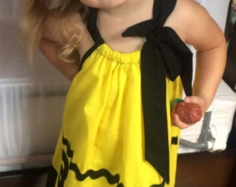 Custom Made Pillowcase Dress- Charlie Brown Solid Yellow with Black RickRack  and Hem & Ribbon- NB- 8y/o