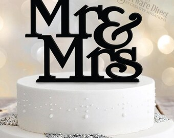 Mr & Mrs Stacked Acrylic Cake Topper
