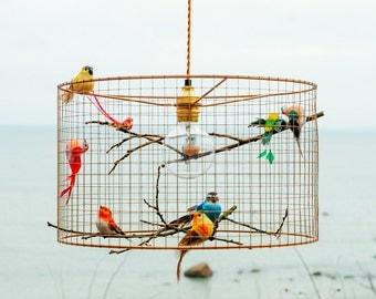 Copper Birdcage Pendant Light Chandelier