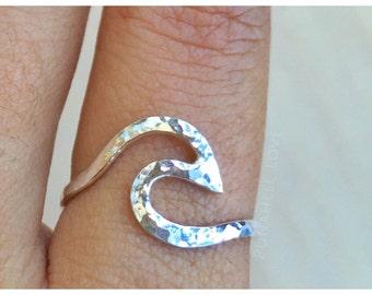 Wave Ring, Nalu Ring, silver wave ring, gold wave ring